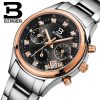 BINGER Women's watch quartz waterproof full stainless steel Chronograph